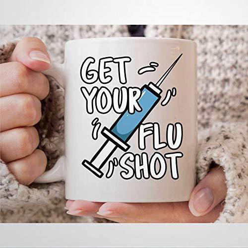 """Taza de café corta con texto en inglés """"Get Your Flu"""" para enfermeras y graduados registrados, divertida taza para enfermeras de hospital, taza de té de 12 onzas"""