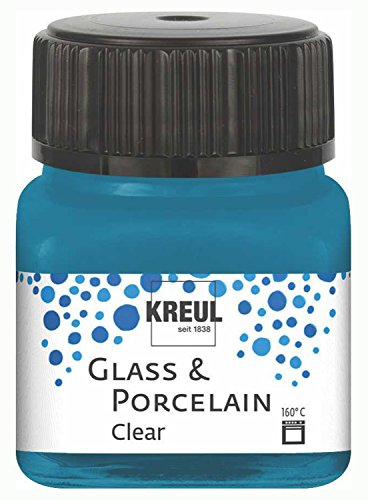 Kreul 16215 - Glass und Porcelain Clear, transparente Glas- und Porzellanmalfarbe auf Wasserbasis, schnelltrocknend, glasklar, 20 ml im Glas, cyanblau