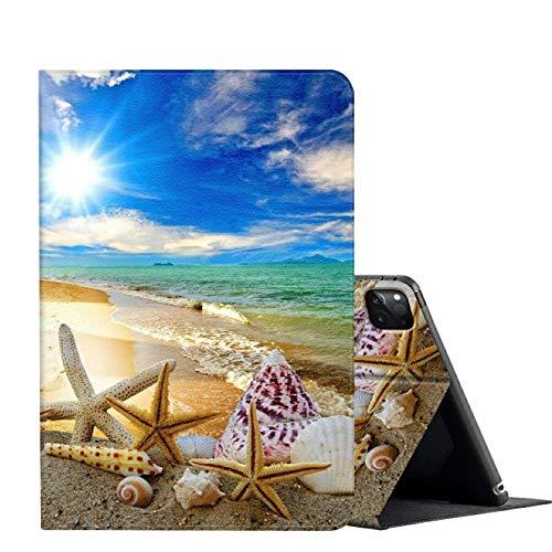 iPad Pro 12.9 Case 2020,AMOOK Adjustable Folio Smart Cover Stand Shockproof TPU Case with Auto Sleep/Wake & Anti-Slide Design for Apple iPad Pro 12.9 Inch 4th Generation - Beautiful Beach Seashells
