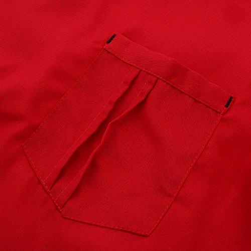 P Prettyia Atmungsaktive Kurzarm Kochjacke Backjacke Kochkleidung Koch Gastronomie Berufsbekleidung Arbeitskleidung für Restaurant Gastronomie – Rot, 2XL - 6