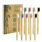 Brosse à Dents de Bambou Paquet de 10 - Brosse à Dents en Bambou à 5 couleurs - Poils Doux Naturels - Brosse à Dents en Bambou Ecologique Biodégradable pour Une Utilisation Quotidienne en Famille
