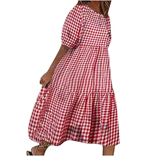 AMhomely Vestido de mujer para mujer, manga corta, cuello 0, casual, suelto, talla grande, a cuadros, fiesta, elegante, talla Reino Unido