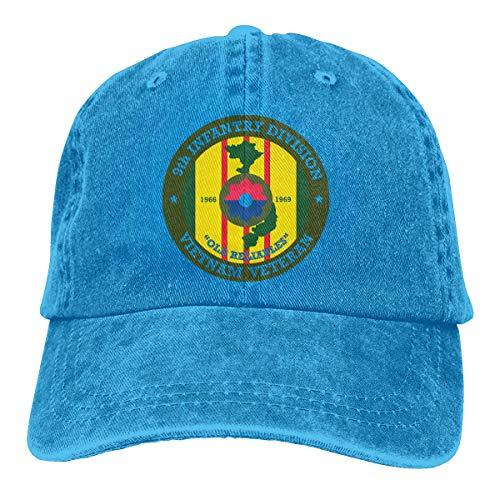 Transpirable Ocio Sombrero,Secado Rápido Dad Hat,Cómoda Sombrero De Deporte,Novena División De Infantería Calcomanía De Veteranos De Vietnam Hombres O Mujeres Gorras De Béisbol Ajustables De Mezclil