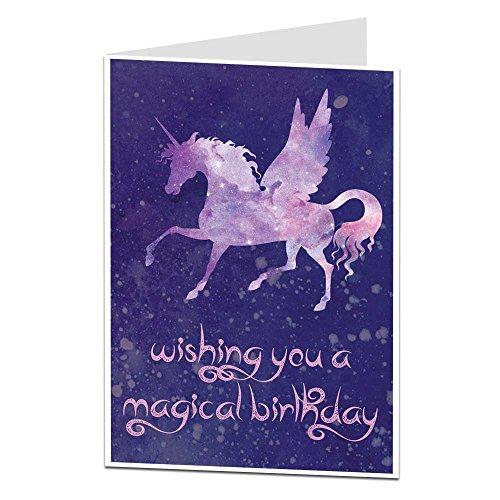 Einhorn Geburtstagskarte für Ihren Mädchen Frauen Cosmic Zauberhafte Design