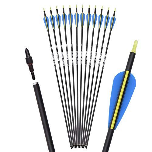 ELONG OUTDOOR Frecce in carbonio mista per la caccia all arco, 28  30  32  per l inserimento con archi Compound Recurve (12 pezzi)