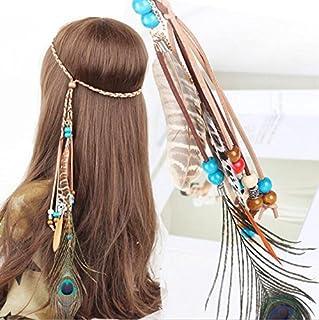 Campsis Indian Peacock Feather Headbands Boho Princess Head Chain Bule Adjust Headdress Handmade Rope Hair Accessories for Women and Girls (G)