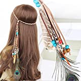 Campsis Indian Princess Peacock Feather Head Chain for Girl, Fashion Headband for Women. (Blue)