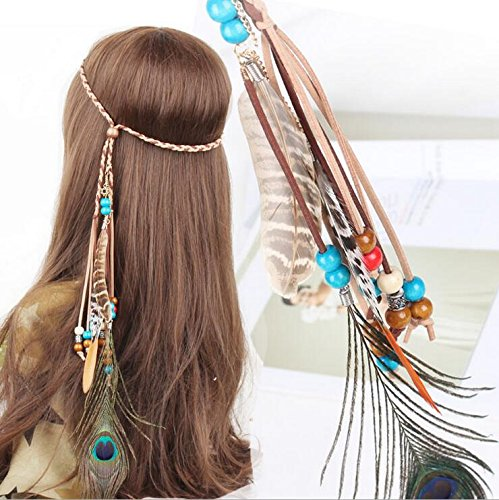 Campsis Indian Peacock Feather Headbands Boho Princess Head Chain Bule Adjust Headdress Handmade Rope Hair Accessories for Women and Girls (G)