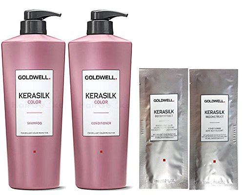 Goldwell Kerasilk Color Set - Shampoo 1L + Conditioner 1L + 2x Reconstruct Sachet