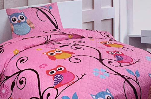 Sapphire Home 2 Piece Twin Size Girls Kids Bedspread Coverlet Quilt Set with Sham, Owl Branch Print Pink Yellow Turquoise Girls Kids Bedding Set, Twin Owl Branch