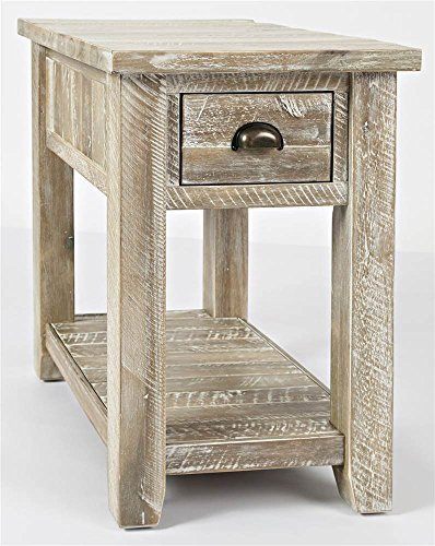 Jofran Artisan's Craft Farmhouse Solid Acacia Chairside End Table, 16''L x 24''W x 24''H, Washed Grey