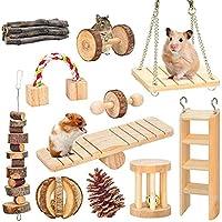天然木製小動物用おもちゃ 12個セット 運動不足解消でき モルモット トトロ ハムスター ウサギに