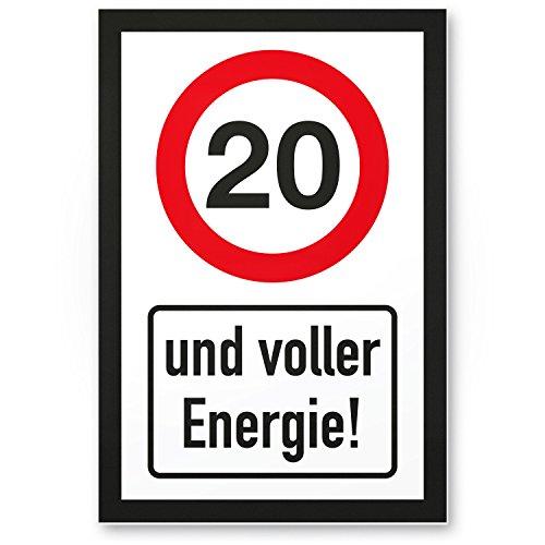 Bedankt! 20 jaar vol energie, plastic bord - Cadeau 20e verjaardag, cadeau-idee verjaardagscadeau twinsten, verjaardagsdeco/feestdecoratie/feestaccessoires/verjaardagskaart