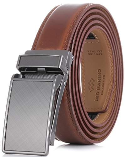 "Marino Avenue Men's Genuine Leather Ratchet Dress Belt with Linxx Buckle - Gift Box (Charcoal Depiction - Burnt Umber, Adjustable from 28"" to 44"" Waist)"