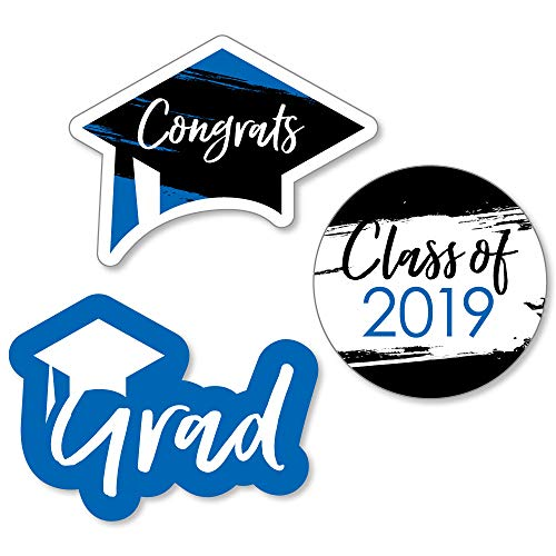 Big Dot of Happiness Blue Grad - Best is Yet to Come - DIY Shaped Royal Blue 2020 Graduation Party Cut-Outs - 24 Count