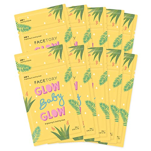 FaceTory Glow Baby Glow Niacinamide and Cica Brightening Sheet Mask - Brightening, Calming, and Moisturizing (Pack of 10)