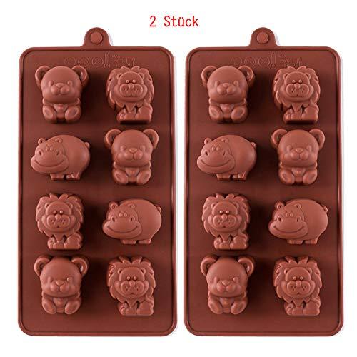 IAOAAO Silikon Schokoladenform Pralinenform - Nilpferd/Löwe/Bär Form Silikonform für Schokoladen - backform für Schokolade/Süßigkeit/Gelee/Eiswürfel/Kleine Seife, 2 Stück