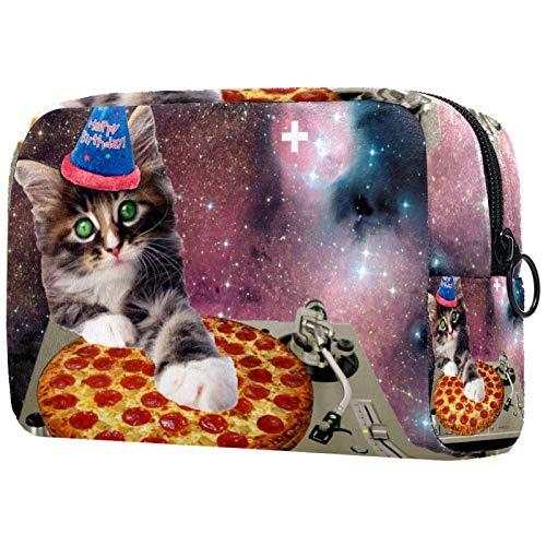 Bolsa de maquillaje personalizable, portátil, para mujer, bolso de mano, organizador de viaje, gato, estrella, cielo y pizza