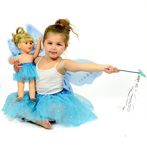 Turquoise Glitter Fairy Princess Dress Up - Pretend Play - Matching Dress for Girls and 18 Inch Dolls by The New York Doll Collection