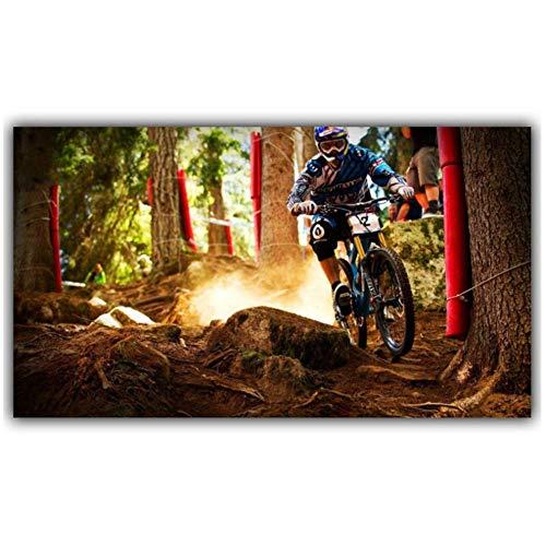 NRRTBWDHL Mountain Motorrad Mountainbike Wettbewerb Poster Custom Home Dekoration Mode Stoff Wand Poster Auto Design -40X70Cm No Frame