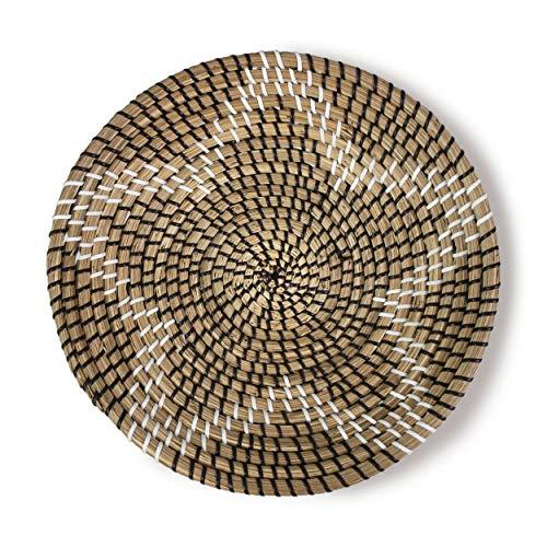 Made Terra Bol natural de cesta de frutas tejidas | Hecho a mano Seagrass Bowl Decorativo Elegante Rústico Decoración Boho Tapiz | Gran regalo de inauguración de la casa (estrella negra)