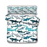 MeeT Funda Nórdica Impresa En 3D Serie Tiburón, Juego De Cama Antialérgico De Fácil Cuidado para Niños Adolescentes Niños Niñas (Tiburón 04,(150x200cm)-Cama de 90)