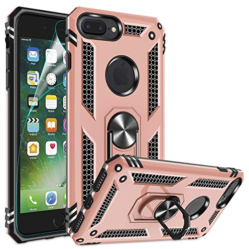 iPhone 8 Plus Case, iPhone 7 Plus Case, iPhone 6 Plus Case with HD Screen Protector, Gritup 360 Degree Rotating Metal Ring Holder Kickstand Armor Phone Cover Case for Apple iPhone 6S Plus Rose Gold