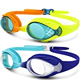Kids Swim Goggles 2 Pack - Quick Adjustable Strap Swimming Goggles for Kids - D