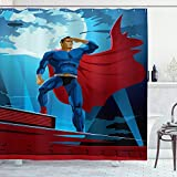 ABAKUHAUS superhéroe Cortina de Baño, Heros Retro de Dibujos Animados, Material Resistente al Agua Durable Estampa Digital, 175 x 200 cm, Azul Rojo
