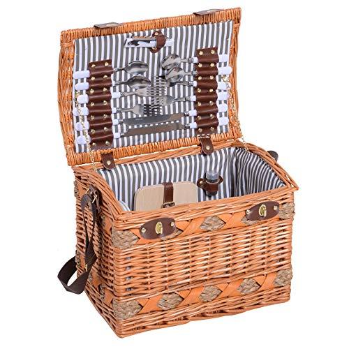 Outsunny Picknickkorb für 4 Personen Picknickkoffer Picknickset Weidenkorb mit Käsebrett Utensilien Glas