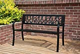 BIRCHTREE 3 Seater <span class='highlight'>Garden</span> Bench Slat Steel Tulip Style Park Patio Outdoor Furniture Seat Chair Metal C073 Black