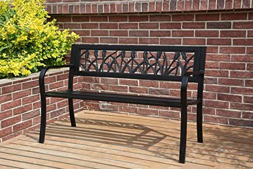 BIRCHTREE 3 Seater Garden Bench Slat Steel Tulip Style Park Patio Outdoor Furniture Seat Chair Metal C073 Black
