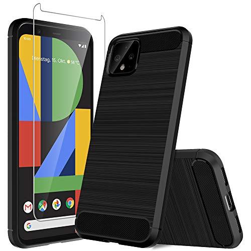 MP-MALL Funda para Google Pixel 4,[Anti-Huella Digital][Slim Fit] Carcasa Protectora Cepillada TPU Suave Cover con Vidrio Templado Screen Protector[1 Pack] para Google Pixel 4 - Negro