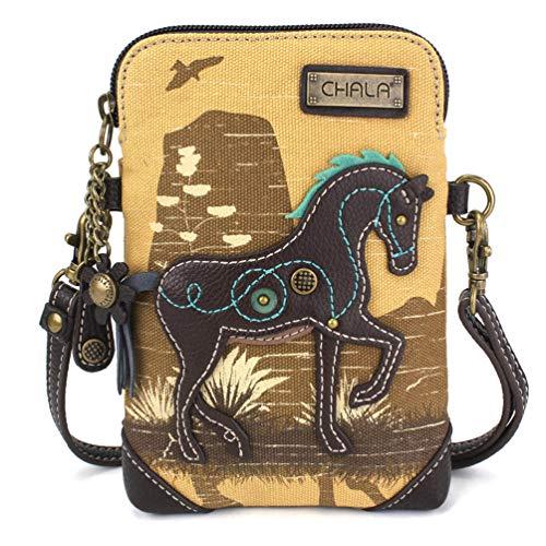 Chala Crossbody Cell Phone Purse-Women Canvas Multicolor Handbag with Adjustable Strap (Safari Horse Brown)