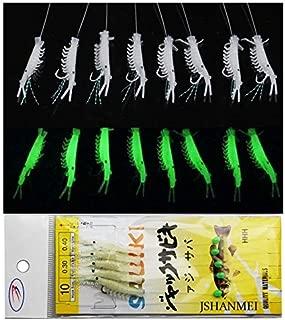 JSHANMEI 10 Packs Luminous Shrimp Sabiki Bait Rigs Glitter Glow in The Dark Fish Saltwater Bait Lure Catching Hook Tackle Fishing Rigs