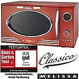 Melissa 16330088 Retro Mikrowelle/900 Watt/25 Liter Garraum,Design Mikrowelle mit Grill/Metallic rot