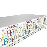 DIWULI, Tischdecke Happy Birthday, Geburtstags Tischtuch, Tafeldecke, Tafeltuch, Tischwäsche,...