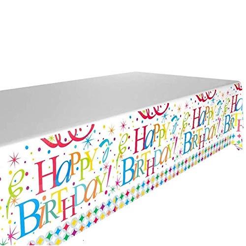DIWULI, Tischdecke Happy Birthday, Geburtstags Tischtuch, Tafeldecke, Tafeltuch, Tischwäsche, Kunststoff-Tischdecke für Geburtstag Deko, Junge Mädchen Kindergeburtstag, Motto-Party, Dekoration