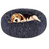 TOKINCEN Haustierbett, Rundes Plüsch-Katzenbett-Hundehaus-Welpen-Kissen-tragbare warme weiche Bequeme Hundehütte, Doughnut-Form Klein Hund Bett