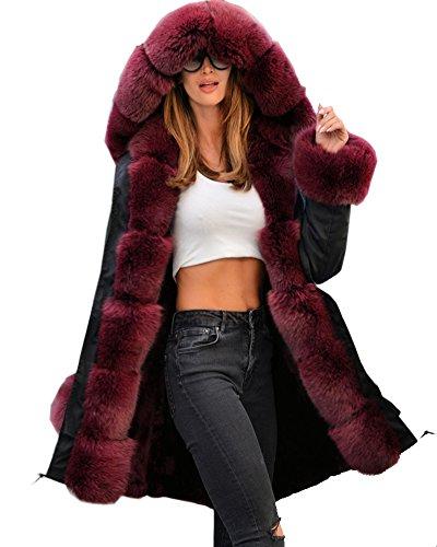Aofur Womens Hooded Faux Fur Lined Warm Coats Parkas Anoraks Outwear Winter Long Jackets (Medium, Black_Wine Fur)