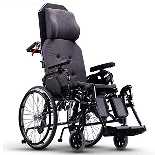 N/Z Daily Equipment Wheelchair Folding Lying Down Self Propelled with High Backrest Comfortable Cushion Adjustable Foot Pedal Disabled/Elderly Push Scooter