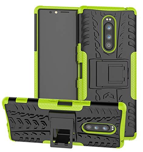 Yiakeng Handyhülle für Sony Xperia 1 Hülle, Doppelschicht Stoßfest Schlank Silikon Ganzkörperschutz Mit Ständer für Sony Xperia 1 (Grün)