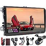 Cámara de copia de seguridad Android 10 2 GB 32 GB 4 Núcleo Doble Din Car Player GPS Navi 9Inch Pantalla táctil Radio estéreo En el tablero de la cabeza Autoradio Bluetooth Pantalla Enlace PIP para VW