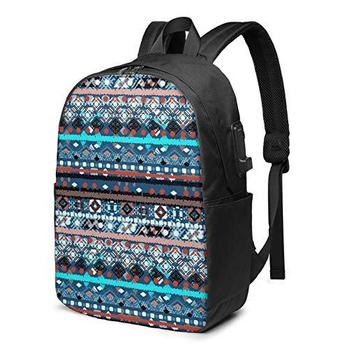 Laptop Rucksack Business Rucksack für 17 Zoll Laptop, Rustikaler Patchwork Teppich Schulrucksack Mit USB Port für Arbeit Wandern Reisen Camping, für Herren Damen