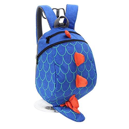 Anti Verlorene Kinder Tasche Kinder Nette Rucksack Cartoon Schultasche mit Leine (Blau)