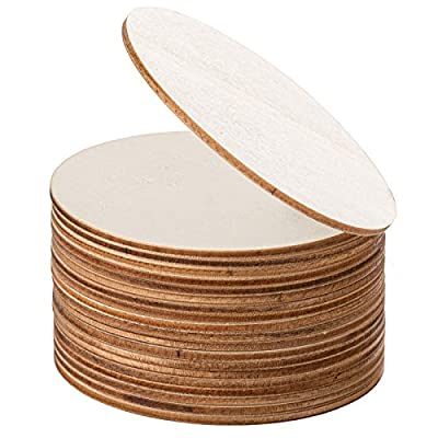 DECORKEY Unfinished Wooden Circles Door Hanger, 3 1/2 Inch Dia Round Wood Slices for DIY Wood Craft, Pyrography, Painting and Wedding Christmas Decorations