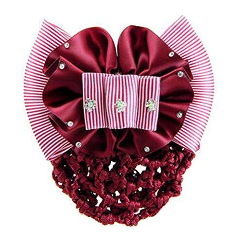 2PCS Mesh cheveux Barrette Snood Elastic Bun Cover Bowtie Hairnets, Vin rouge