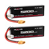 HOOVO 3S 11.1V 5200mAh 100C Lipo Battery with XT90 Connector for RC Car RC Helicopter Airplane Quadcopter UAV Drone FPV (2 Packs)
