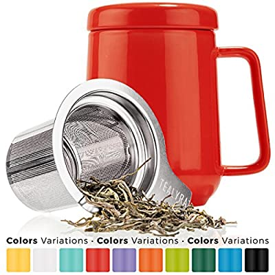 Tealyra - Peak Ceramic Red Tea Cup Infuser - 19-ounce - Large Tea High-Fired Ceramic Mug with Lid and Stainless Steel Infuser - Tea-For-One Perfect Set for Office and Home Uses - 580 milliliter