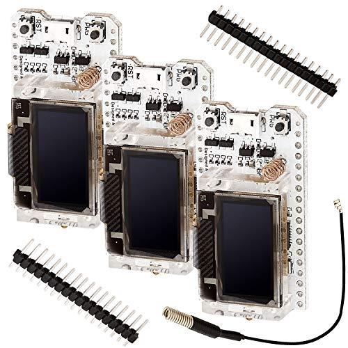 AZDelivery 3 x NodeMCU ESP32 Heltec mit 096 Zoll OLED Display und SX1276 868MHz LoRa inklusive E Book